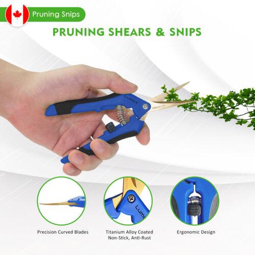 Pruning Snips Shear Scissor Garden Curved Blades Titanium Stainless Steel Lumo-X
