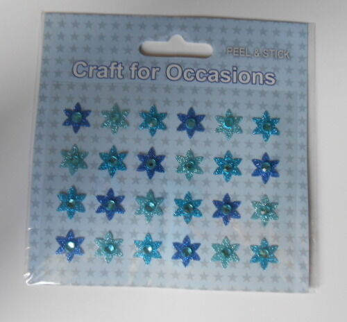 PACK 24 MIXED BLUES FLOWER STAR EMBELLISHMENTS  FOR CARDS AND CRAFTS