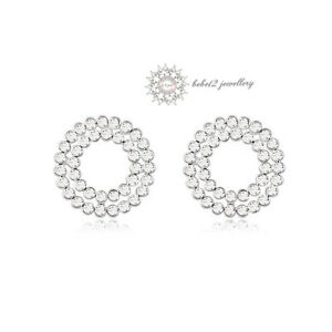 Austria Crystal//Ring//Circle Stud Earring//White Gold//RGE297S//307S//308S