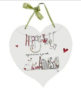 Happy Anniversary Congratulations To You Both Hanging Heart Plaque New Bnib Ebay