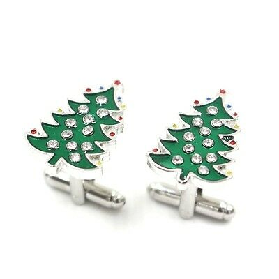 Christmas Cufflinks green color xmas tree design men cufflinks