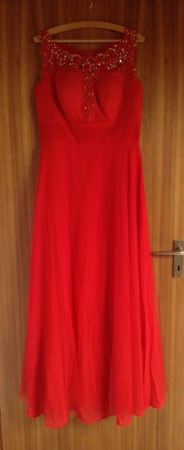 Angebot Hübsches Abendkleid mit Spitzen, Pailletten und Strass, Rot, Gr. L (42)