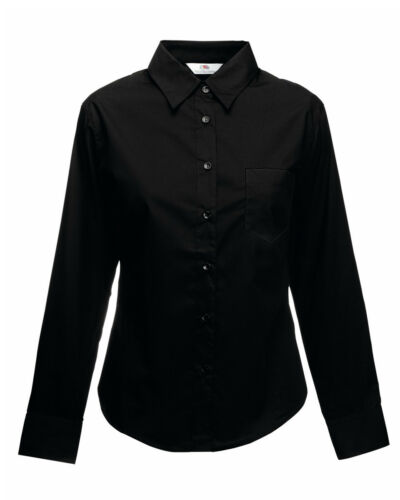 Fruit Of The Loom Lady-Fit Long Sleeve Poplin Shirt Adult Work//Formal Shirt