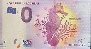 BILLET-0-EURO-AQUARIUM-DE-LA-ROCHELLE-FRANCE-2017-NUMERO-100