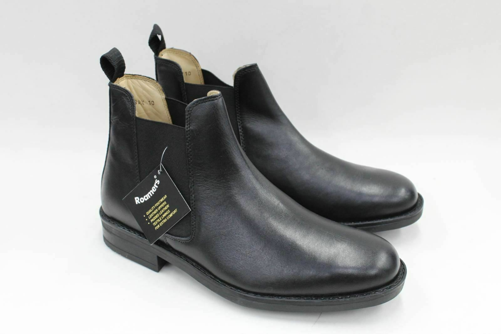 ROAMERS Men's Black Leather Pull-On Twin Gusset Chelsea Ankle Boots UK10 BNIB