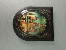 """Russian Small Lacquer box Palekh """" Church """"  Hand Painted With Mirror Insde"""