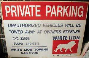 White-Lion-Towing-Sign-Metal-Advertising-24-034-x18-034-Tow-Truck-San-Luis-Obispo-CA