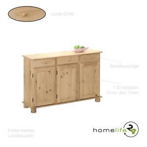 Sideboard Landhausstil Kommode 3 Turig Und 3 Schubladen Natur Kiefer