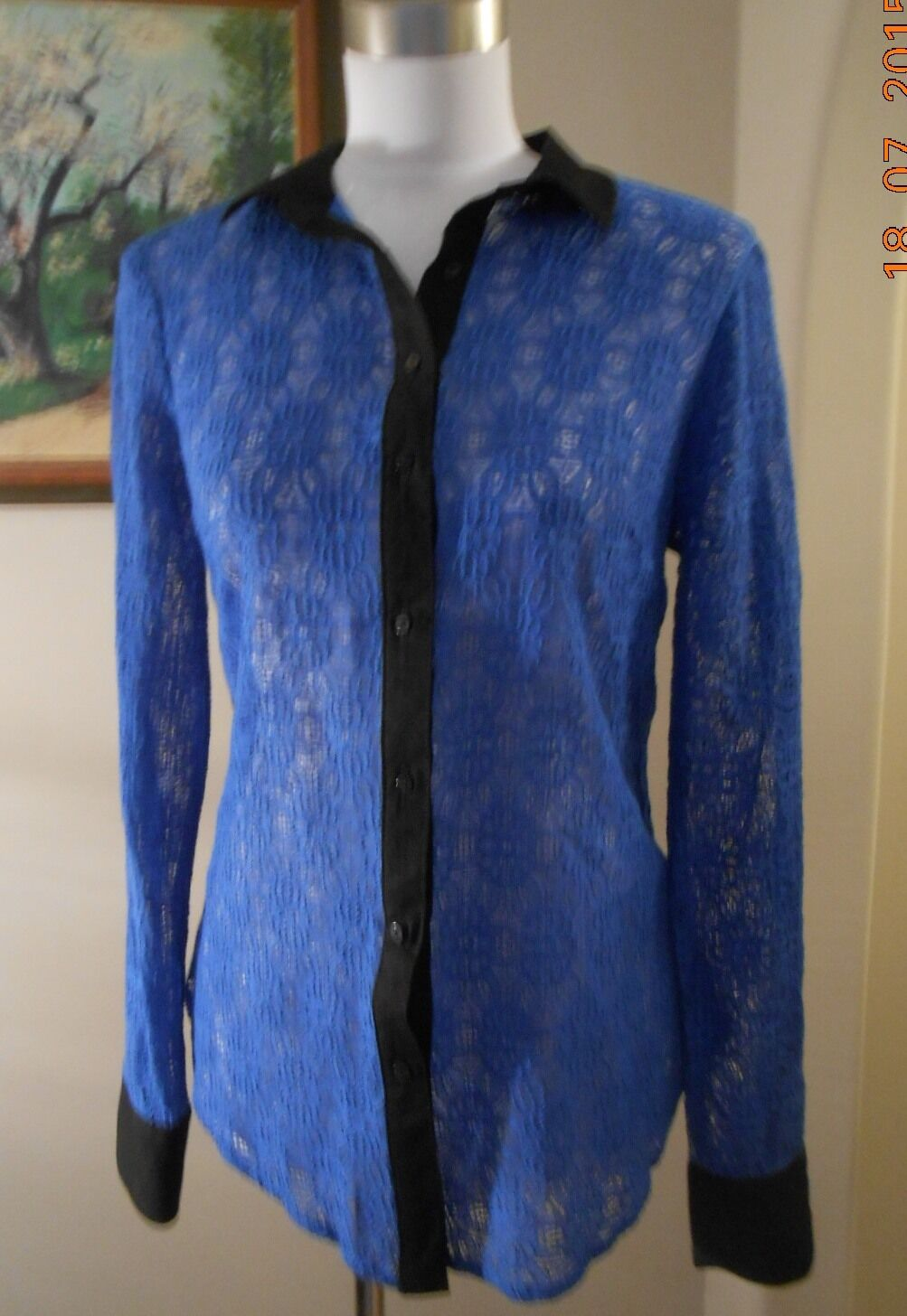 VANESSA VIRGINIA Anthropologie Blau Gemma Lace Blouse Größe 6 New With Tag NWT