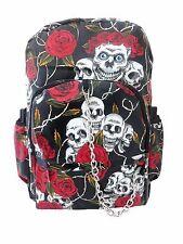 Cráneo Rose Rojo Negro PVC Gótico Emo Mochila Escuela Universidad Bolsa De Rock Punk