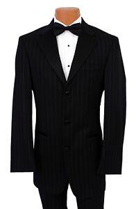 56S-Joseph-Abboud-Black-Striped-Tuxedo-Jacket-Wedding-Cheap-Tux-Blazer-Prom-Coat