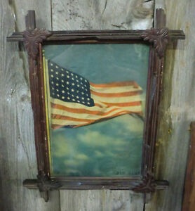 Antique-Adirondack-Frame-Old-Glory-Flag-Picture-9-5-034-x-13-5-034