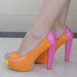 WOMEN SHOES PATENT ORANGE/PINK/YELLOW/GREEN PEEP TOE PLATFORM