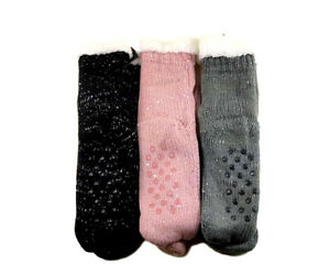 New-3-Pairs-Ladys-Thick-Fur-Bed-Socks-w-Knitted-Pattern-luffy-Home-Sock-Non-Slip