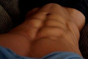 shirtless male beefcake muscular chest abs close up shot dude photo