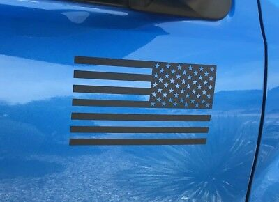 2 Matte Black American Flag Vinyl Decal Sticker Jeep