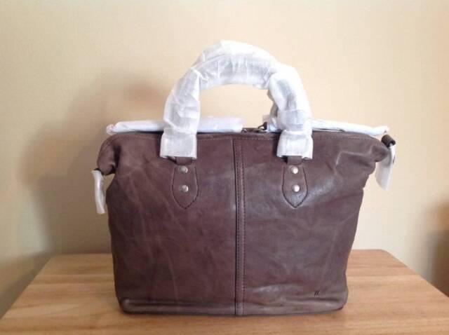 Frye Veronica Soft Full Grain Italian Leather Satchel Charcoal Grey Silver  NWT 89592f0320d47