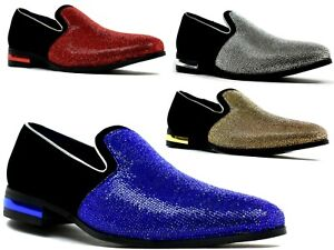 Mens-sparkling-glitter-diamante-costume-designer-Wedding-Party-Shoes-UK-6-11