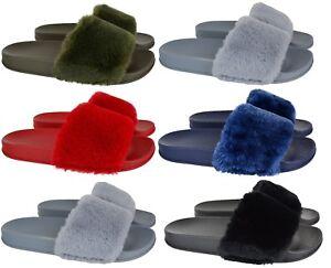 Da-Donna-in-Finta-Pelliccia-CURSORI-Celeb-Stile-Soffici-Pantofole-Infradito-Scarpa-Donna-SZ-3-8