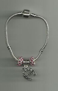 Silver-Plated-Bracelet-with-Good-Luck-Horse-Shoe-Charm-amp-Crystal-Beads