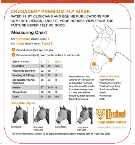 Cashel Fly Mask Standard Yearling oreilles Silencieux Ride Équitation Pour Trail Cheval