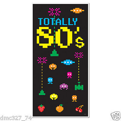 1980s Party Decoration Prop TOTALLY 80s DOOR WALL COVER Atari Space Invaders