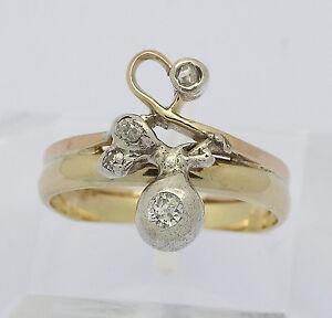 Jugenstil-Ring-in-aus-14-kt-585er-Gelb-Gold-mit-Diamant-Diamantring-Goldring