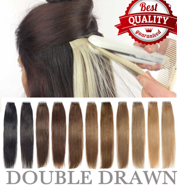 Us Stock Double Drawn Tape In Remy Human Hair Extensions Virgin Pu
