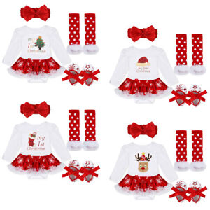 ee5fb32f49d5 Baby Girl Xmas Tutu Romper Dress Christmas Outfit Fancy Costume ...