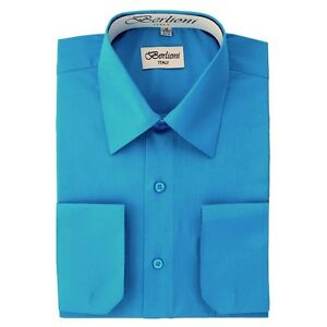 Berlioni-Italy-Solid-Mens-Dress-Shirt-Italian-French-Convertible-Cuff-Turquoise