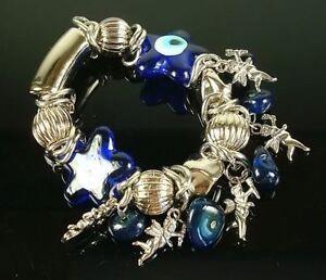 Armband Aus Estreche Pfeil Der Cupido Perlen Murano Blau Und Bälle Silber