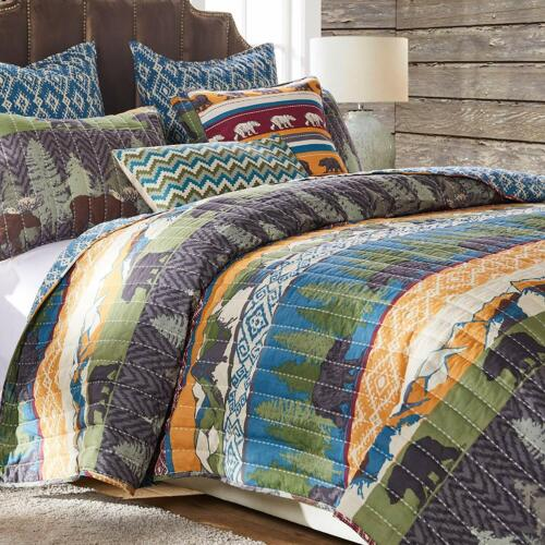 Details about  /COZY LODGE LOG CABIN BEAR MOOSE BROWN MOUNTAIN PINE TREE BLUE GREEN  QUILT SET