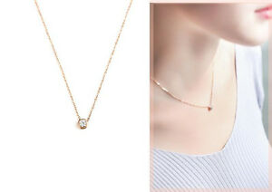 Lady-039-s-18K-White-Gold-Rose-Gold-GP-6mm-Simple-Crystal-Necklace-Pendant-Gift