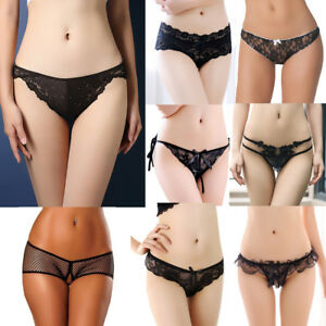 30f4b6e9c Black Women s Lace Sexy G-strings Thongs Briefs Panties Knickers ...