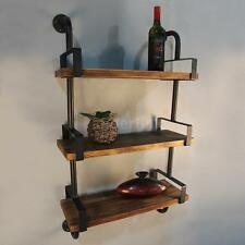 3-Tier Rustic Industrial Iron Pipe Wall Shelves W/ Wood Planks DIY Ladder R0D3