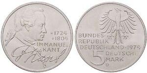 GERMANIA-REPUBBLICA-FEDERALE-5-MARK-1974-D-IMMANUEL-KANT-ARGENTO-SILVER-RARA