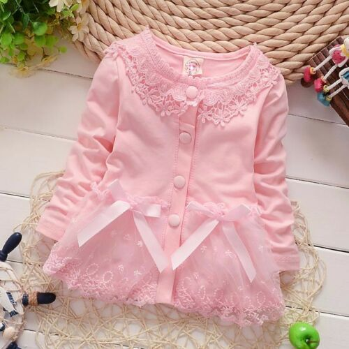 baby girls infant kids autumn clothes cotton tops pink lace coat girls cardigan