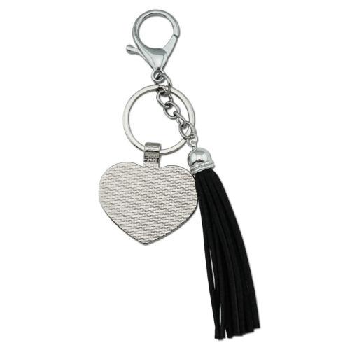 Black Widow Spider on Web Chrome Plated Metal Heart Leather Tassel Keychain