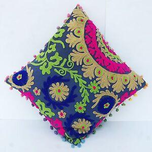 "Handmade Pom Pom Uzbek Traditional Suzani Embroidery Cushion Cover Square 16x16/"""