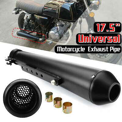 "17.5/"" Motorcycle Exhaust Pipe Slip on Muffler Silencer with Sliding Bracket USA"