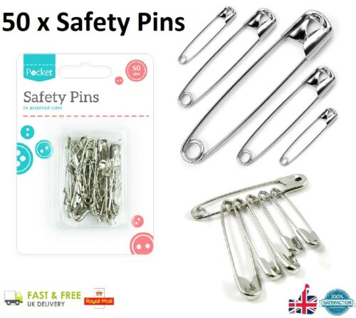 50 x Assorted SAFETY PINS Silver Colour Hobby Craft Sewing Needle Pin Art GEM UK