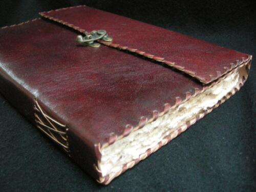 A4 Handmade ANTIQUELook Leather Sketchbook Journal DECKLED PAPER, Brass Catch
