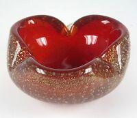 Murano Glas Aschenbecher Goldstaub Venetian Glass Ashtray Gold Dust Inclusions %