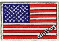 (qq) Reflective American Flag 3 X 2 Iron On Patch (2654) Biker Vest