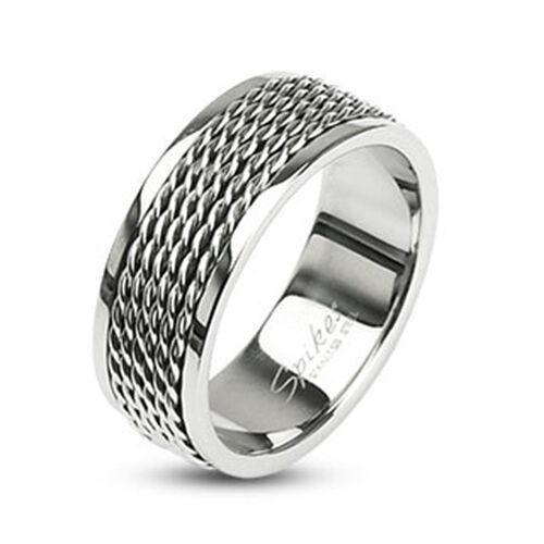Edelstahl Ring Draht Chain Kette Wire Kabel Biker silber schwarz Herren Damen