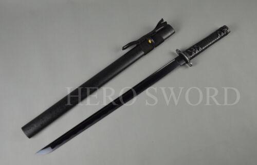 Fully Black Japanese Ninja T1060 high carbon steel Samurai Sword Wakizashi Sharp
