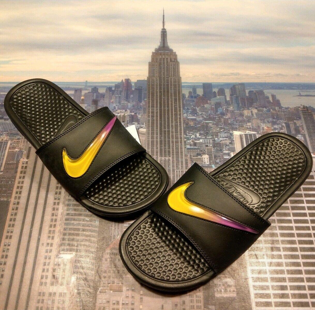 Nike Benassi JDI SE Slide Sandal Black Black Black yellow-purple Mens Size 8 AJ6745 002 226330