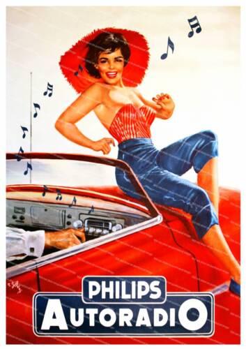Philips Autoradio Vintage Car radio advertising poster reproduction.