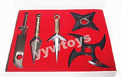 Anime Naruto Shippuden Set 5 Cosplay Sword Metal Keychain Toy New In Box