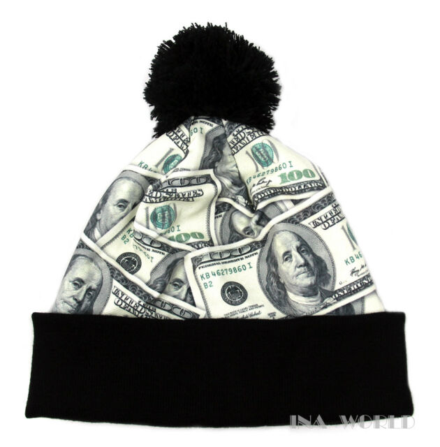 Pom Beanie hat cap Hundred dollar Money Bill Black Cuffed Winter skull cap